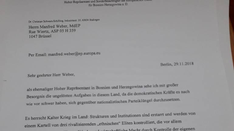 Pismo koje je Schwarz-Schilling uputio predsjedniku Evropske pučke stranke Manfredu WeberuNAP - [Screenshot]