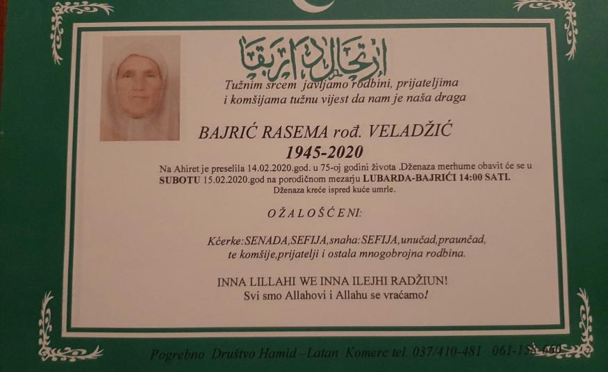 Na Ahiret preselila Bajrić (rođ.Veladžić) Rasema